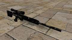 Rifle sniper em uniformes de camuflagem azul esc