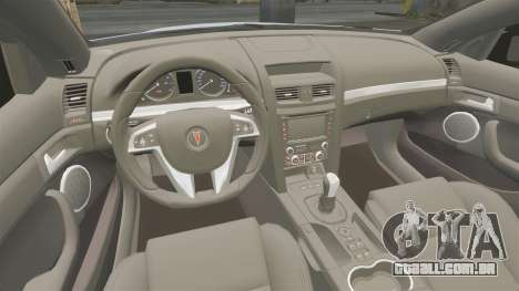 Pontiac G8 Sport Truck 2010 para GTA 4 vista interior