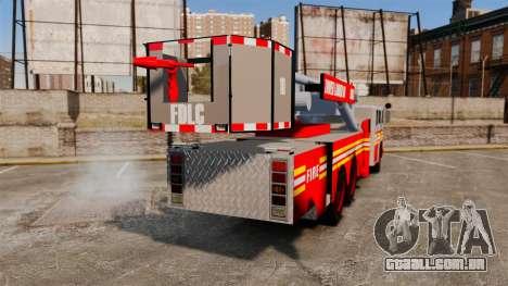 MTL Firetruck Tower Ladder [ELS-EPM] para GTA 4 traseira esquerda vista