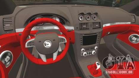 Holden HSV W427 2009 para GTA 4 vista de volta