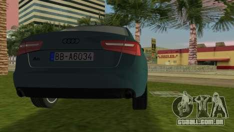 Audi A6 2012 para GTA Vice City vista traseira esquerda