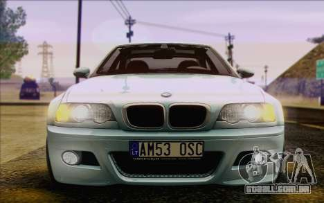 BMW M3 E46 2005 para GTA San Andreas vista inferior