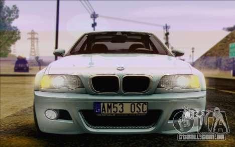 BMW M3 E46 2005 para GTA San Andreas vista inferior