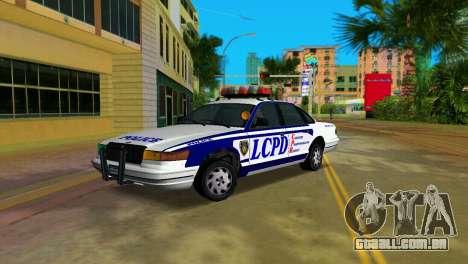 GTA IV Police Cruiser para GTA Vice City vista traseira esquerda