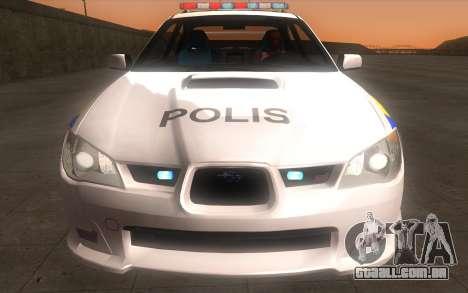 Subaru Impreza 2006 WRX STi Police Malaysian para GTA San Andreas vista traseira