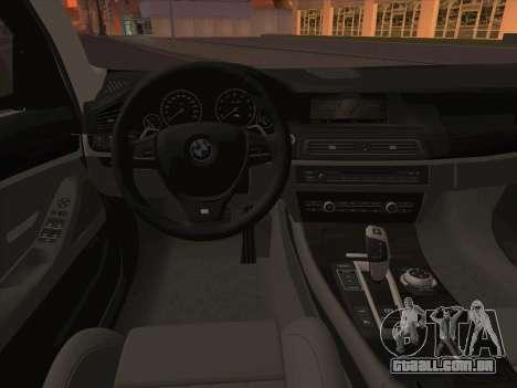 BMW M5 F11 Touring para GTA San Andreas vista inferior