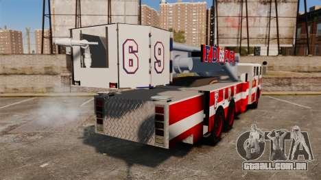 MTL Firetruck Tower Ladder FDLC [ELS-EPM] para GTA 4 traseira esquerda vista