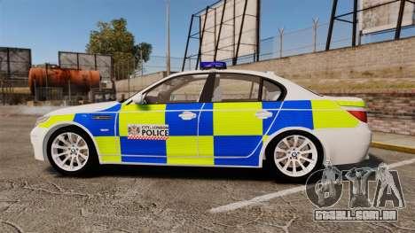 BMW M5 E60 City Of London Police [ELS] para GTA 4 esquerda vista