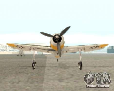 Focke-Wulf FW-190 F-8 para GTA San Andreas vista traseira