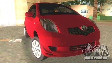 Toyota Yaris para GTA Vice City vista traseira