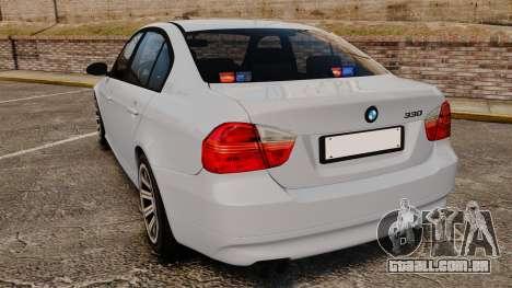 BMW 330i Unmarked Police [ELS] para GTA 4 traseira esquerda vista