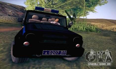 UAZ Hunter polícia para GTA San Andreas vista interior