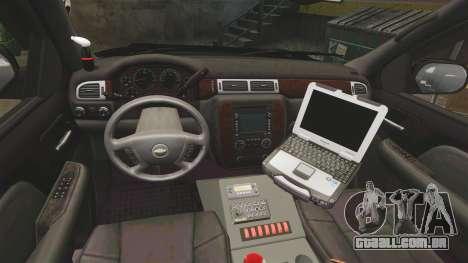 Chevrolet Tahoe 2008 Federal Signal Valor [ELS] para GTA 4 vista de volta