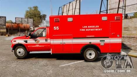 Ford E-350 LAFD Ambulance [ELS] para GTA 4 esquerda vista
