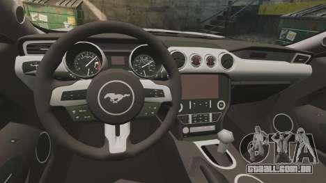 Ford Mustang GT 2015 Cheng Guan Police para GTA 4 vista interior