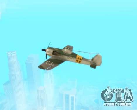 Focke-Wulf FW-190 F-8 para vista lateral GTA San Andreas