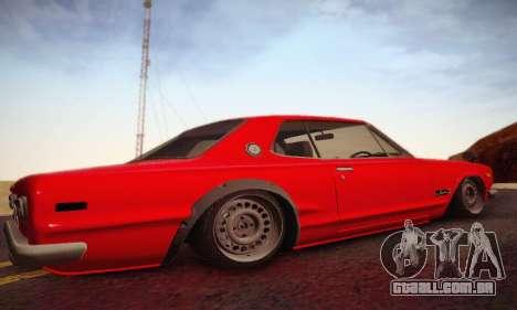 Nissan Skyline 2000GTR 1967 Hellaflush para GTA San Andreas vista traseira