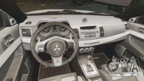 Mitsubishi Lancer Evo X Humberside Police [ELS] para GTA 4 vista interior