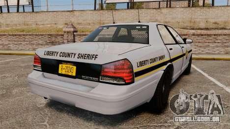 GTA V Vapid Police Cruiser Scheriff [ELS] para GTA 4 traseira esquerda vista