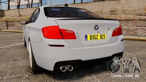 BMW M5 Unmarked Police [ELS] para GTA 4 traseira esquerda vista