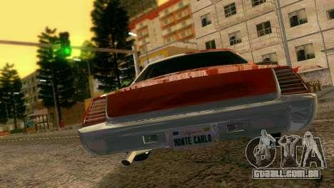 Chevy Monte Carlo Lowrider para GTA Vice City vista direita