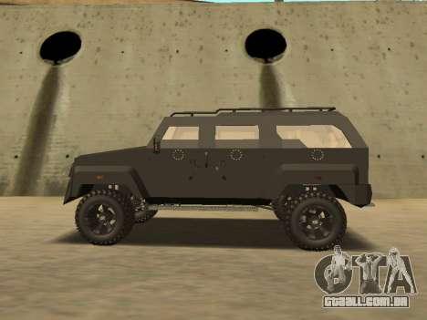 Ford Super Duty Armored para GTA San Andreas traseira esquerda vista