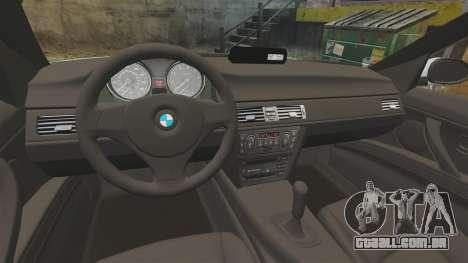BMW 330i Unmarked Police [ELS] para GTA 4 vista de volta