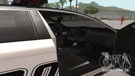 GTA V Police Cruiser para GTA San Andreas traseira esquerda vista