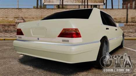 Mercedes-Benz S600 (W140) 1998 para GTA 4 traseira esquerda vista