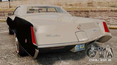 Cadillac Eldorado Coupe 1969 para GTA 4 traseira esquerda vista