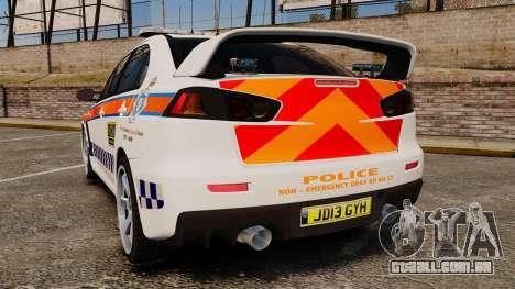 Mitsubishi Lancer Evo X Humberside Police [ELS] para GTA 4 traseira esquerda vista