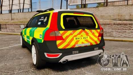 Volvo XC70 Paramedic [ELS] para GTA 4 traseira esquerda vista