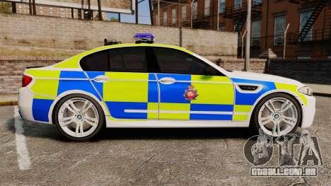 BMW M5 Greater Manchester Police [ELS] para GTA 4 esquerda vista