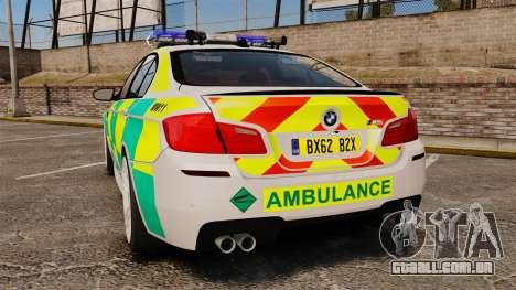 BMW M5 Ambulance [ELS] para GTA 4 traseira esquerda vista