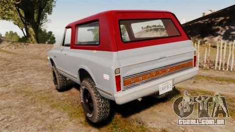 Chevrolet K5 Blazer para GTA 4 traseira esquerda vista