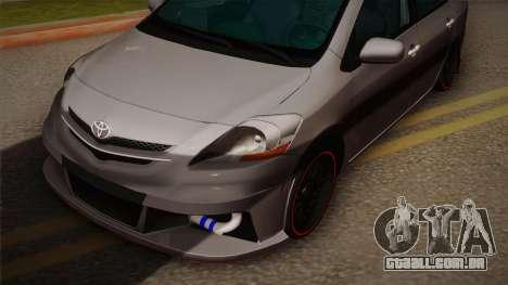 Toyota Vios Slalom Edition para GTA San Andreas traseira esquerda vista