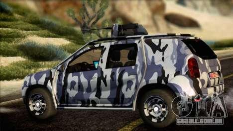 Dacia Duster Army Skin 3 para GTA San Andreas esquerda vista