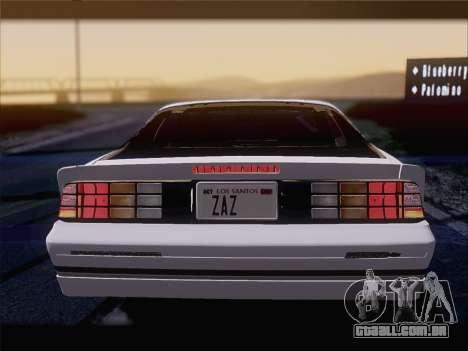 Chevrolet Camaro IROC-Z 1990 para o motor de GTA San Andreas