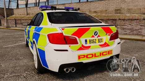 BMW M5 Greater Manchester Police [ELS] para GTA 4 traseira esquerda vista
