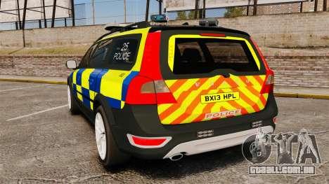 Volvo XC70 Police [ELS] para GTA 4 traseira esquerda vista