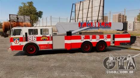 MTL Firetruck Tower Ladder FDLC [ELS-EPM] para GTA 4 esquerda vista