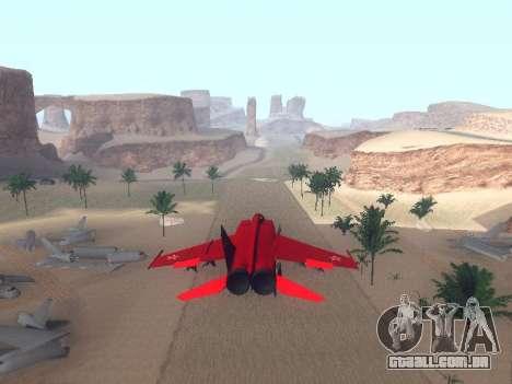 MiG-25 para GTA San Andreas traseira esquerda vista