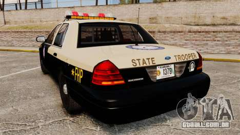 Ford Crown Victoria 1999 Florida Highway Patrol para GTA 4 traseira esquerda vista
