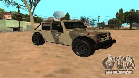 Crusader GTA 5 para GTA San Andreas esquerda vista