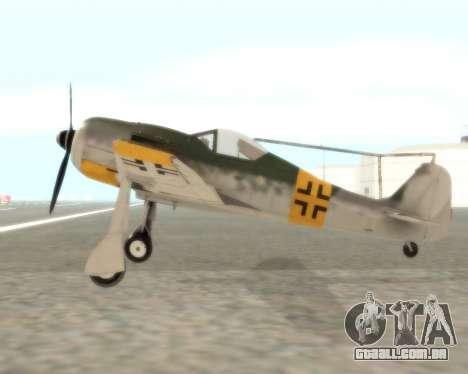 Focke-Wulf FW-190 F-8 para GTA San Andreas esquerda vista