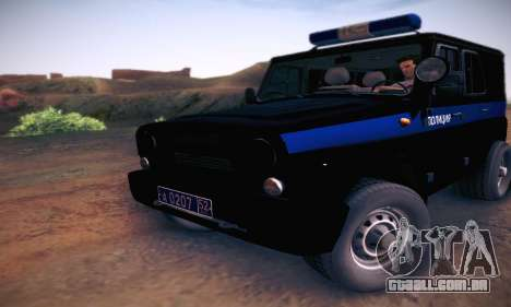 UAZ Hunter polícia para GTA San Andreas esquerda vista