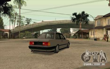 BMW E30 Stance para GTA San Andreas traseira esquerda vista
