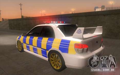 Subaru Impreza 2006 WRX STi Police Malaysian para GTA San Andreas esquerda vista