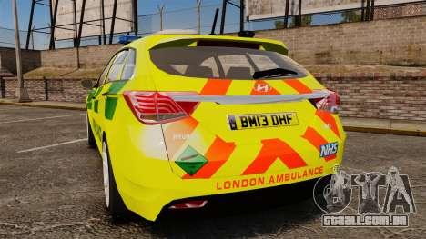 Hyundai i40 Tourer [ELS] London Ambulance para GTA 4 traseira esquerda vista