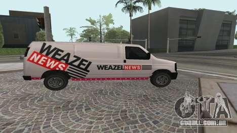 Newsvan Rumpo GTA 5 para GTA San Andreas esquerda vista